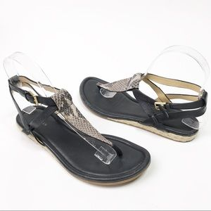 Cole Haan Black Leather Grove Sandal Espadrille